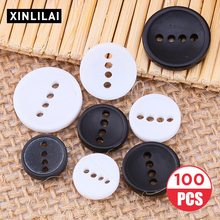 10pcs-100pcs Resin Buttons Muti-size High Quality 4 Holes Round DIY Clothing Accessories Decoration Black-White Color