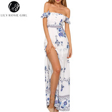 Lily Rosie Girl Off Shoulder Boho White Print Dress Women Summer Beach Sexy Backless Party Maxi Long Split Dresses Vestidos(China)