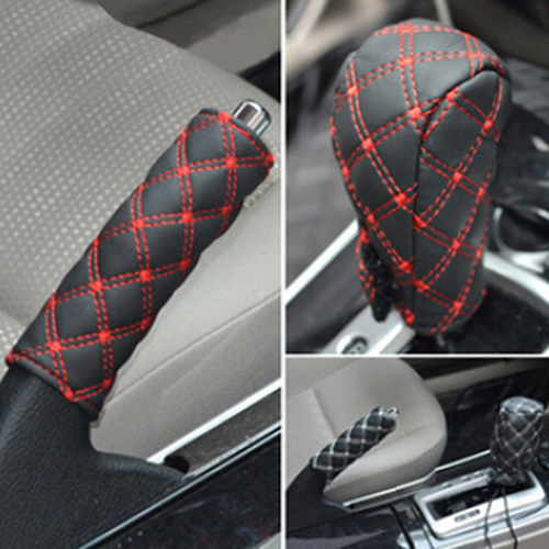 2Pcs/Set Faux Leather Hand Brake Shift Knob Cover Gear Case Car Interior Decor