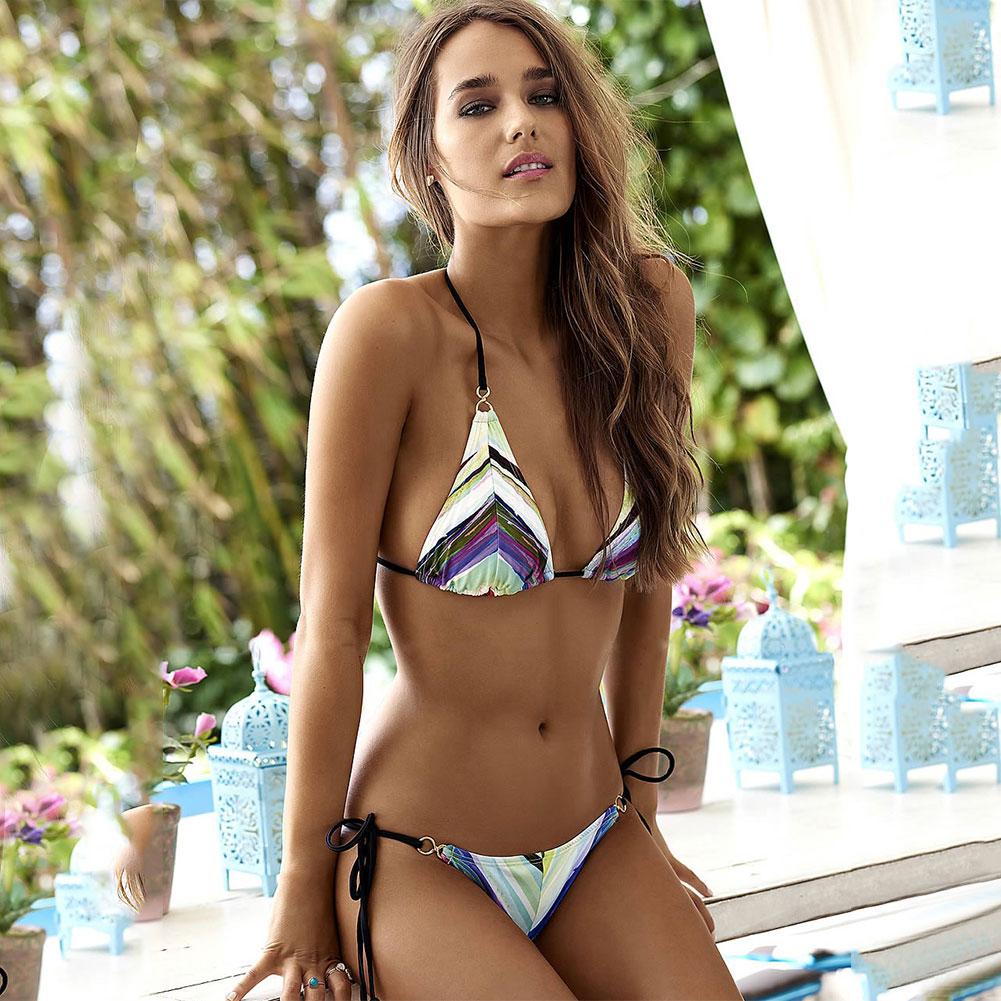 Sexiga Kvinnor Bandage Baddräkter Lacing Bikini Set 2017 Tvådelade Baddräkt Kvinnor Flickor Sexy Floral Bikini Summer Beach Suits