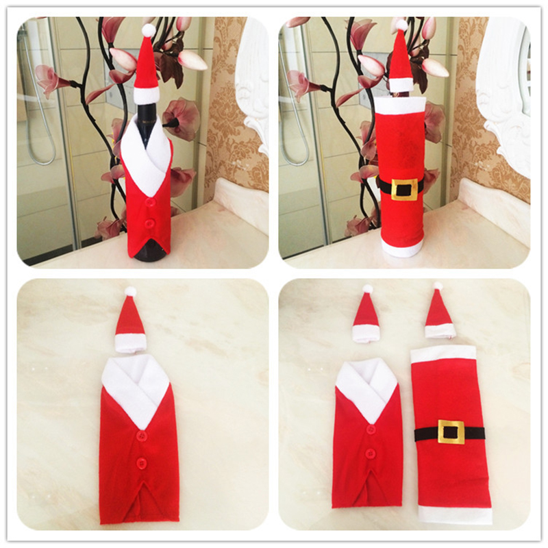 10pcs popular high end plush christmas buckle wine bottle cover champagne holiday table dinner. Black Bedroom Furniture Sets. Home Design Ideas