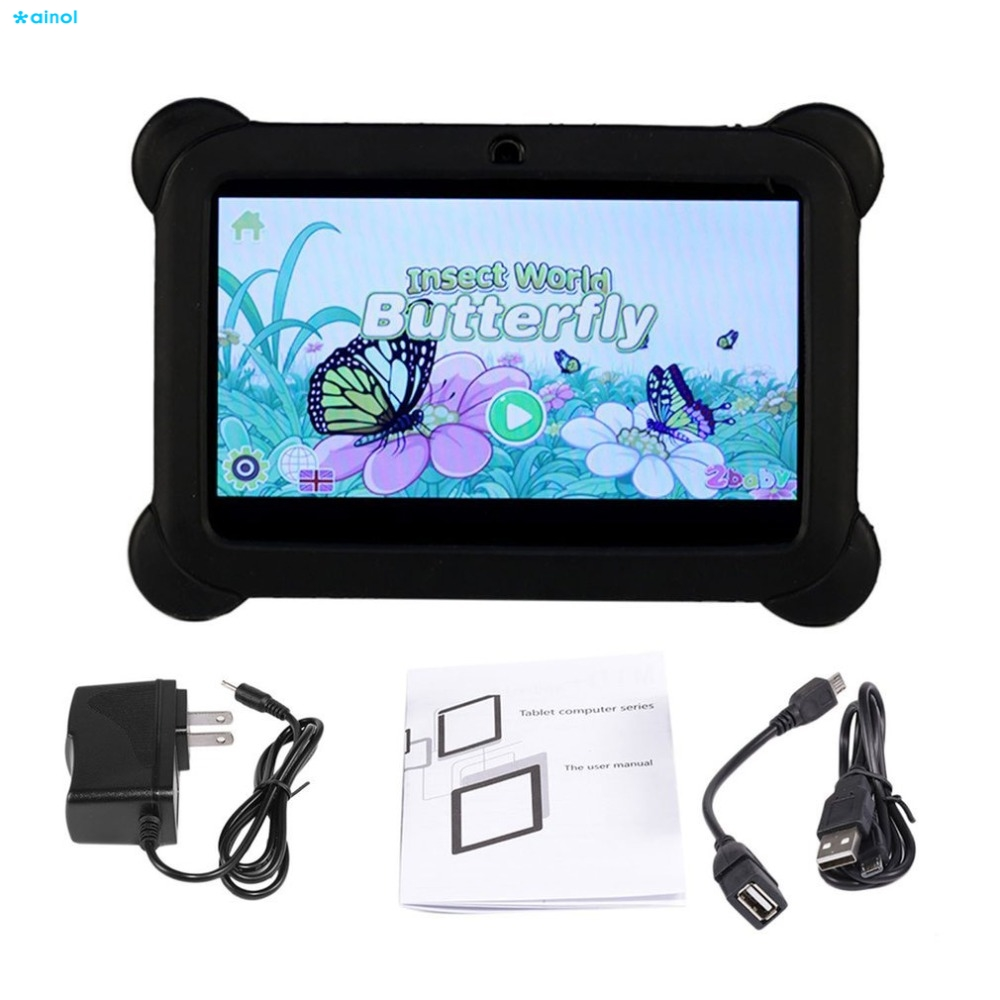 все цены на Ainol 7 inch Screen Children Tablets 8G A33 Quad Core Dual Camera 1024*600 for Android 4.4 infant Tablet PC With Silicone Cover онлайн