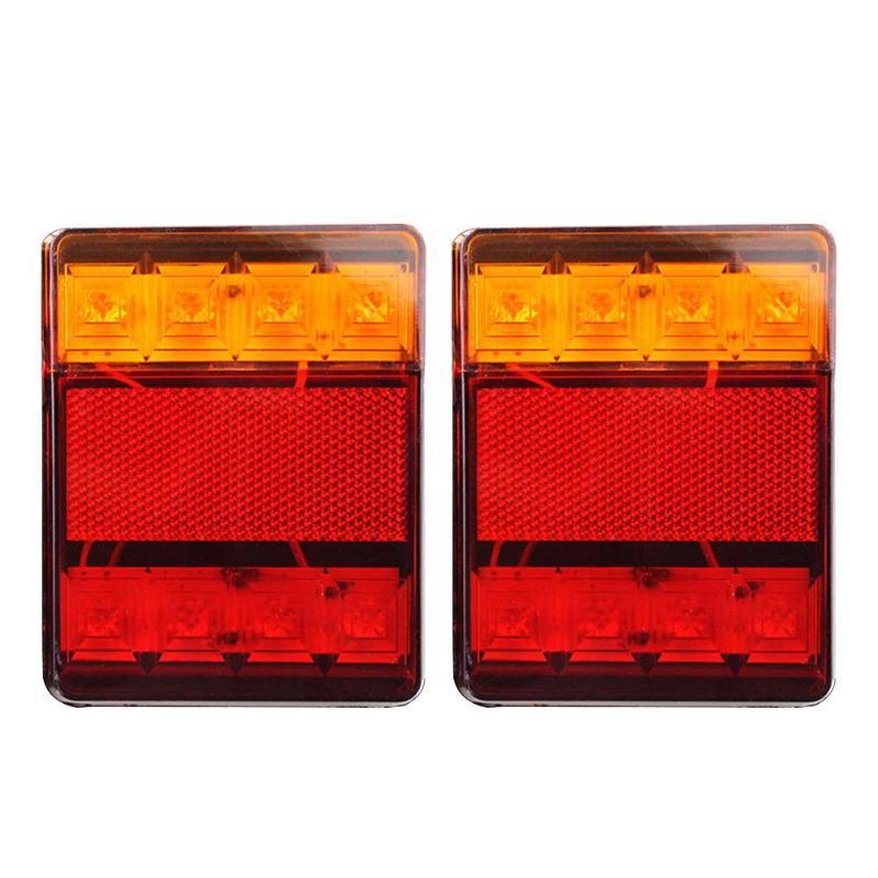 VODOOL 1 Par DC 12 V Car Truck 8LED Tailights Cauda Luzes de Advertência Luzes Traseiras Do Caminhão Sistema de Luz À Prova D' Água para reboque Caravanas
