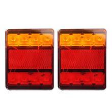 VODOOL 1 Pair DC 12V Car Truck 8LED Tail Warning Lights Rear Lamps Light System Waterproof Tailights for Trailer Caravans