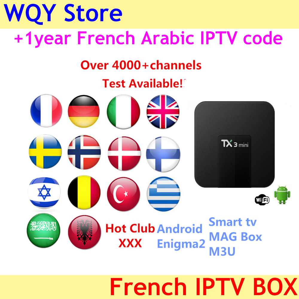 TX3 mini 2GB 16GB with 1year IPTV subscription Europe Spain Sweden Arabic French Italy Norway Saudi