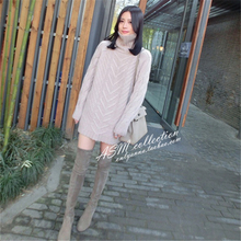 Hot Sell Autumn and Winter Long Cashmere Sweater Women Lazy Loose Was Thin White Turtleneck Sweater Thick Knit Sweater