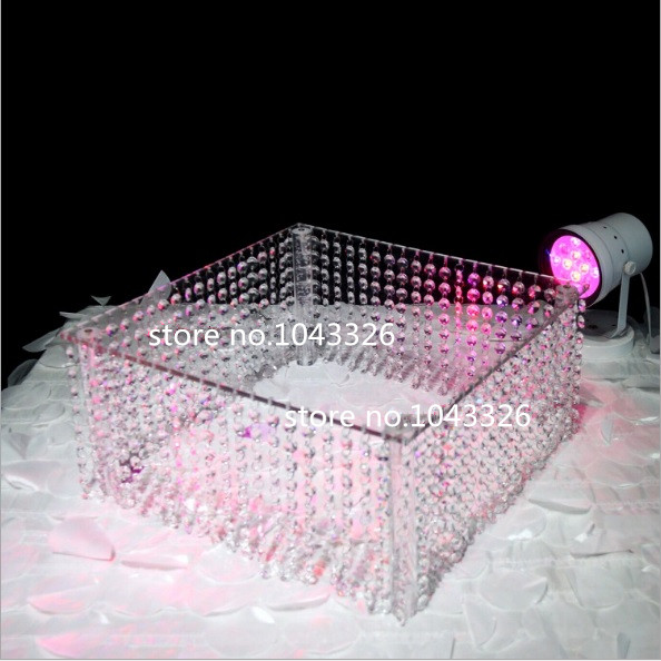 16 20 Top Luxury Amazing Diy Wedding Party Roung Square Acrylic Crystal Bead Cake Stand Cake Tray Centerpiece