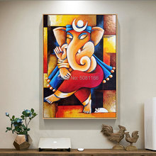 Hand painted Ganesha canvas oil paintings indian elephant god Painting Hinduism Wall art Pictures home Decoration for living