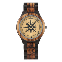 Mens Watch Natural Wood Wristwatch Concise Quartz Compass Pattern Black Ebony
