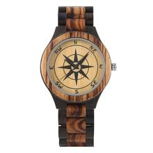 Men's Watch Natural Wood Wristwatch Concise Quartz Compass Pattern Watch Black Ebony Wood Watch цена