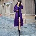 Женщины Однобортный Длинные Шерстяные Пальто 2016 Осень Зима Плюс Размер XS-4XL Slim Фиолетовый Куртки Женский Пальто RS529