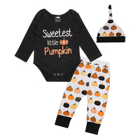 1 Year Birthday Infant Baby Boy Girl Unisex 3pcs Clothing Sets Cotton Rompers Pants Hat Long