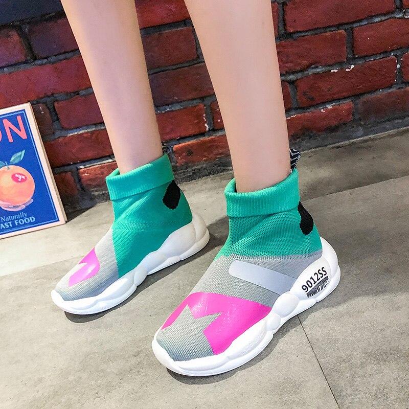 YeddaMavis Stretch Socks Shoes Green Daddy Women Sneakers Spring New Casual Womens Woman Trainers