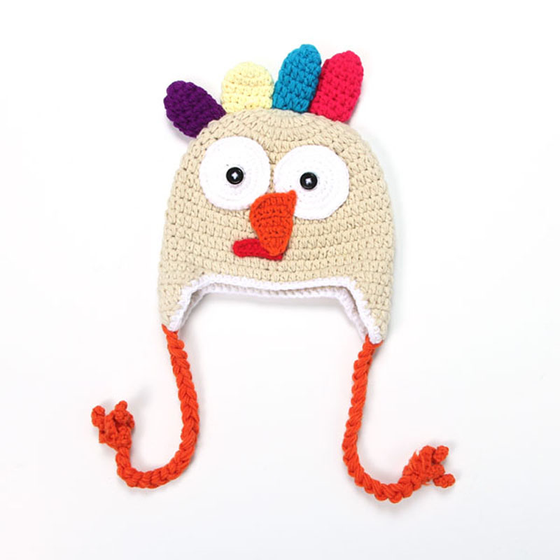 Hechos a mano de punto Crochet pavo gorros recién nacido fotografía ...