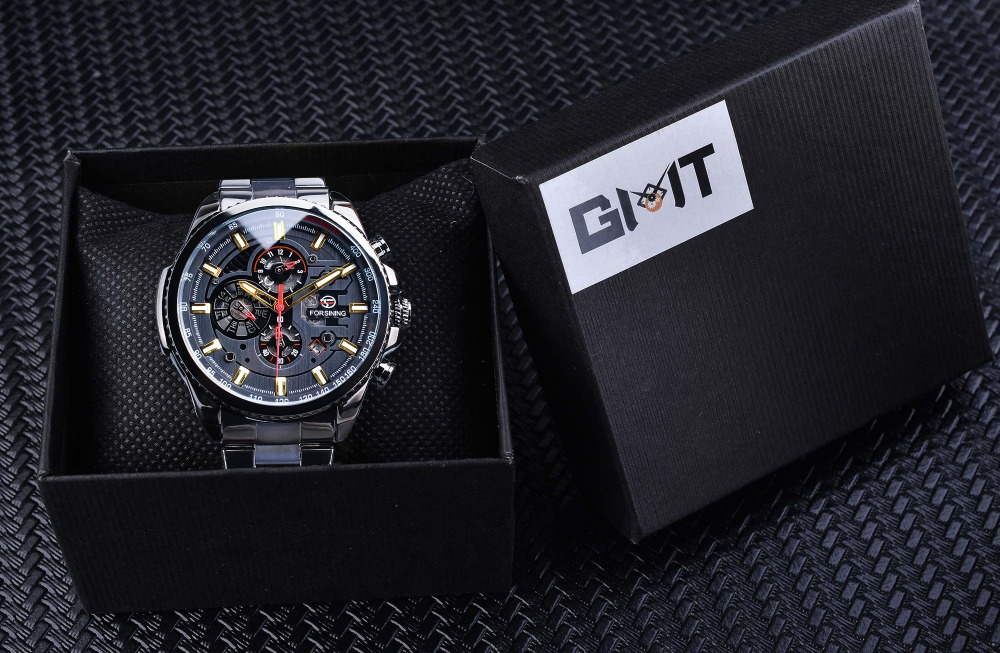 HTB1kTc3KIfpK1RjSZFOq6y6nFXai Forsining 2019 Classic Black Clock Steampunk Series Complete Calendar Men's Sport Mechanical Automatic Watches Top Brand Luxury