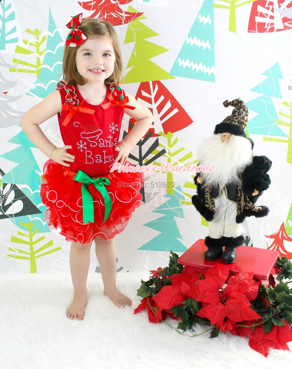 XMAS Santa Claus Head Print Red White Dot Ruffle Lacing Santa Claus Top Girl Red Petal Pettiskirt Outfit Set NB-8Y MAPSA0070 my 1st christmas santa claus white top xmas dot waist girls pettiskirt set 1 8y