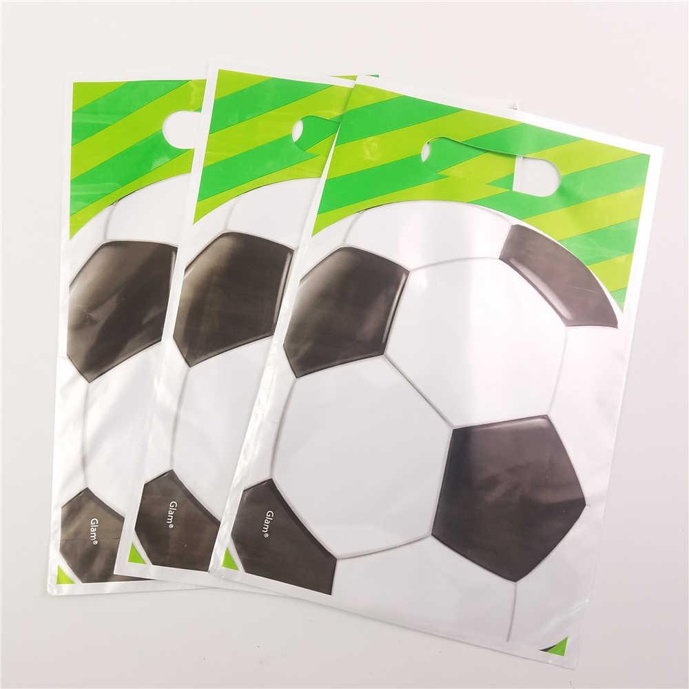 10 pçs/lote Tema do Futebol do Futebol Dos Desenhos Animados Sacos Do Presente de Aniversário Dos Miúdos fontes Do Partido Do Chuveiro Do Bebê Favor Do Evento da Festa de Aniversário Decoração