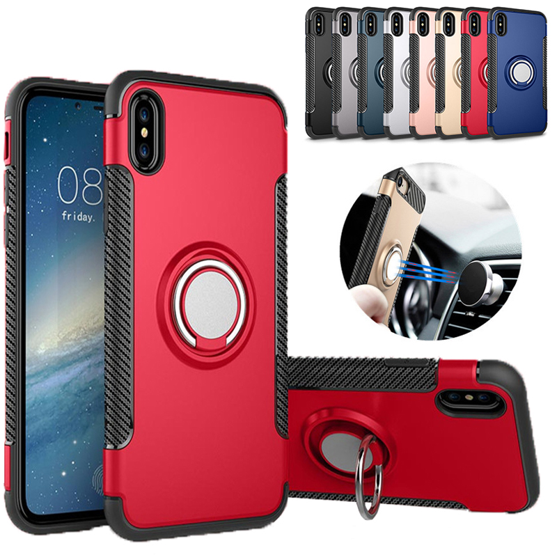 Shockproof Armor Phone Case For Samsung S8 S9 Plus Hybrid Dual Layer With Ring Kickstand Magnetic Case For iPhone X 8 Plus