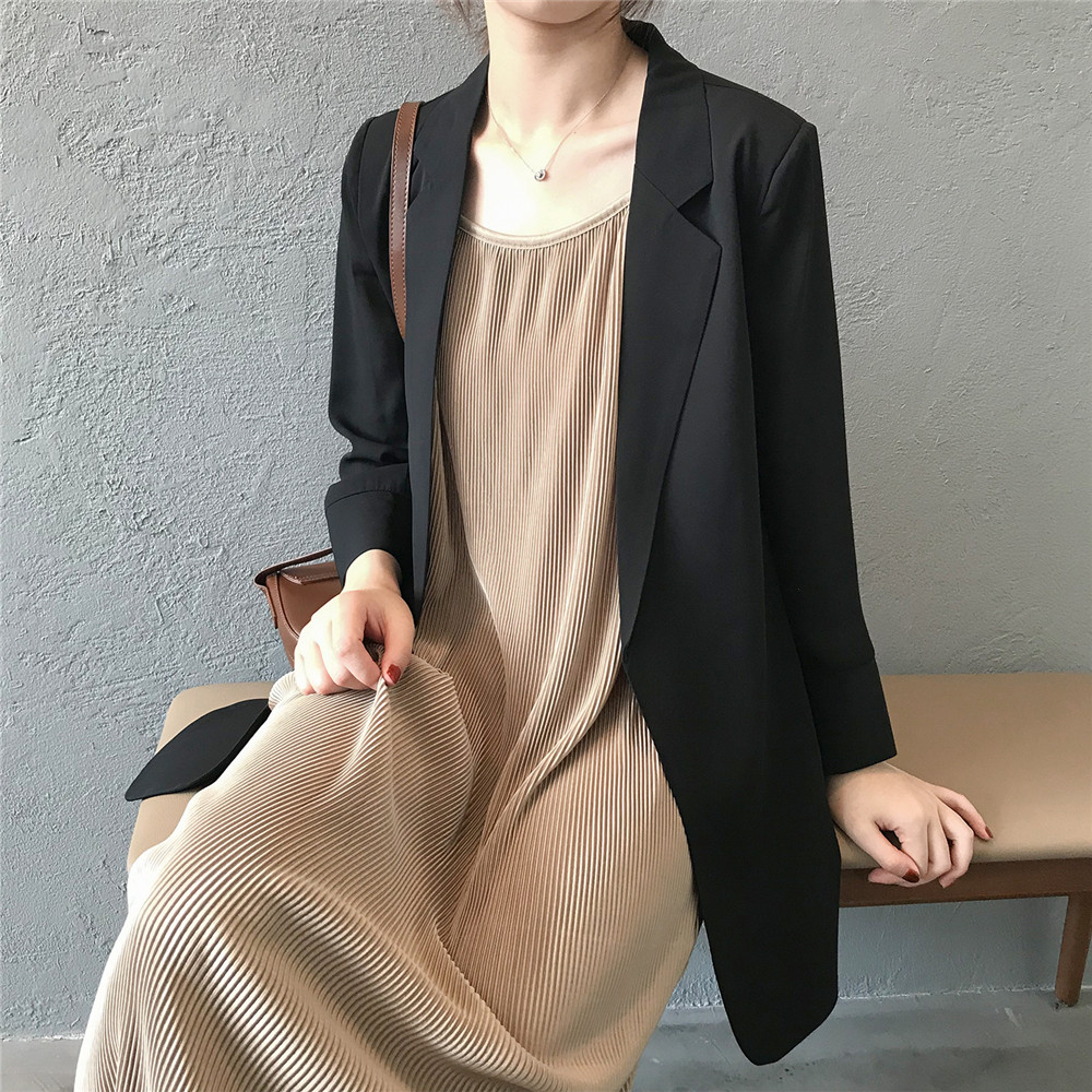 Summer Women Office Thin Suit 2019 Small Long Sleeve Chiffon Suit Jacket Women`s Autumn Work Blazer Suit All Match Suit Y0506 (21)
