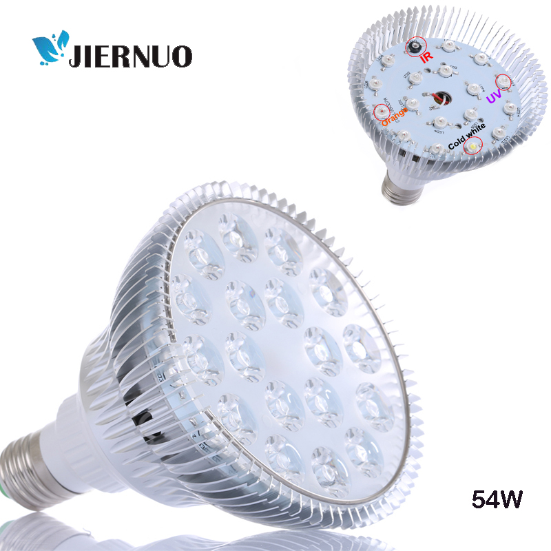 54W LED Grow Light Full Spectrum UV IR Red Blue 18leds plant grow led lamp for indoors seeds flowering growing hydroponics