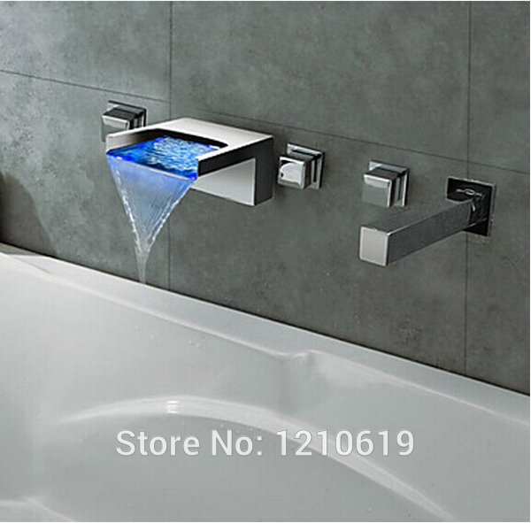 US Free Shipping Wholesale And Retail 5Pcs Bathtub Waterfall Faucet Set Three Handles LED Color Changing Chrome Deck Mounted wholesale and retail deck mounted waterfall bathtub faucet 3 hole chrome finish hot