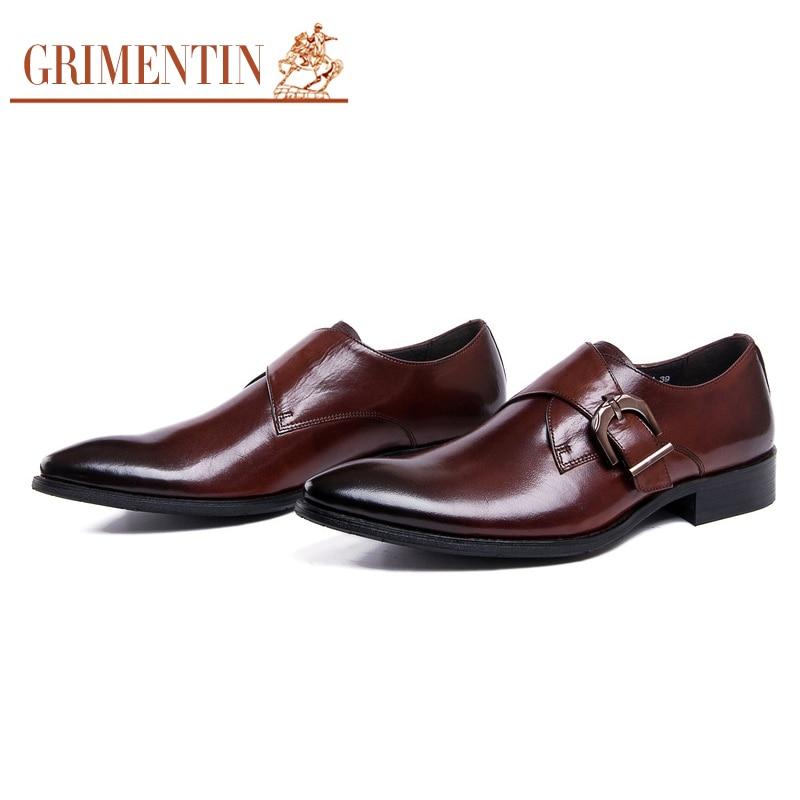 Grimentin Brand Classic Buckle Strap Mens Dress Shoes Genuine