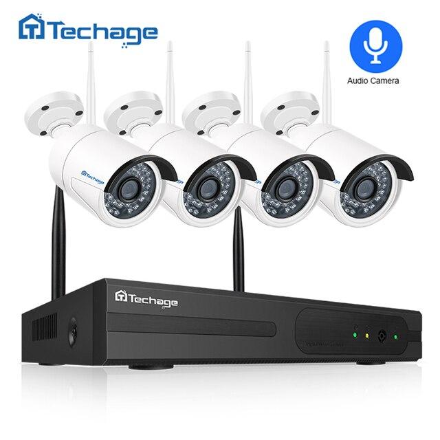 Techage беспроводной безопасности системы 4CH 1080 P NVR комплект 2.0MP IR-CUT открытый аудио запись CCTV Wi Fi IP камера видео набор для наблюдения