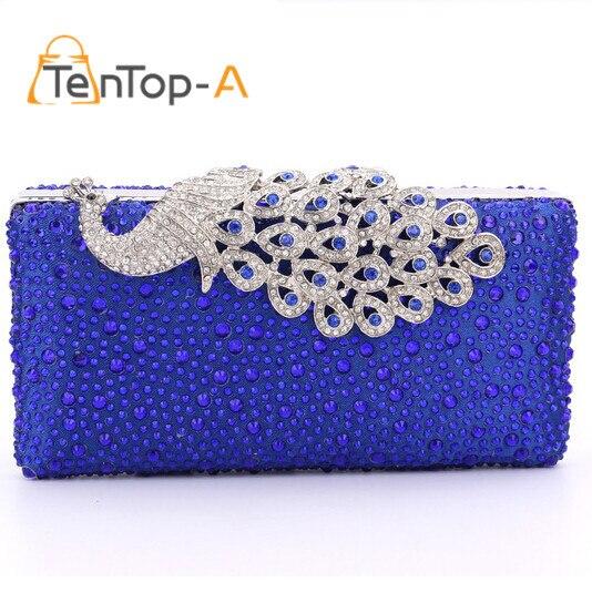 ФОТО TenTop-A Lady Mini Handbag Royal Blue Diamond Peacock Clutch Handbags Crystal Diamond Evening Bag Rhinestone Drops Shoulder Bags