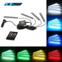7 Color RGB Wireless Remote Music Voice Control Interior Atmosphere Light Bar Car Floor Dash LED