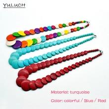 ФОТО hot quality black choker new popular brand wholesaletexture beaded fashion colorful turquoise bead necklace