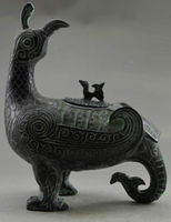 Elaborate Chinese Antique Imitation Collectible Decorated Old Handwork Bronze Phoenix Pot