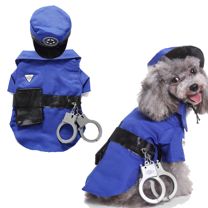 Pet Dog Costume Clothes Funny Costume Police suit Clothes for Dogs Cat Pet Products Jacket Clothing For Dog Roupa Para9T35