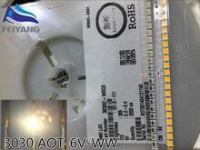 AOT – LED haute puissance 3030 1.6W 6V 3000K, lumière blanche chaude, Application d'éclairage EMC, 50 pièces