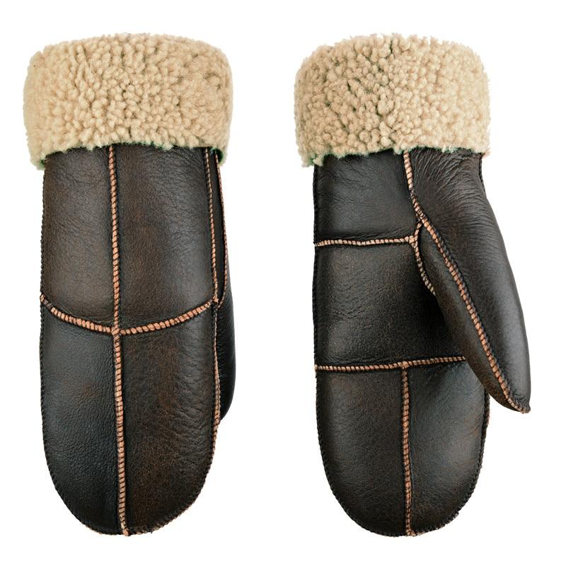 Winter Sheepskin Wool  Men Gloves Women Thicken Warm Thermal Mittens Gloves Outdoor  Riding Skiing Leather Fur Unisex Gloves