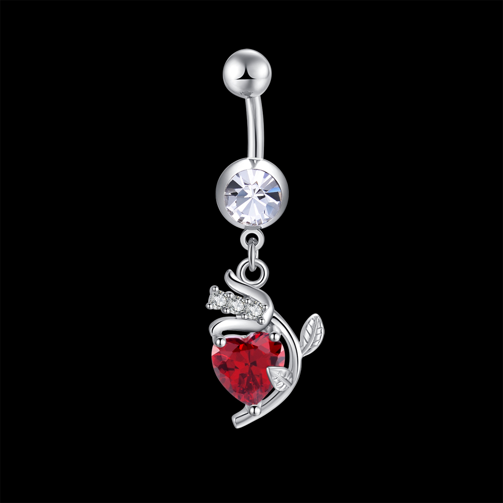2019 Fashion Rose Heart shaped Zircon Bohemian Navel Body Piercing Stainless Steel Crystal Belly Button Ring For Women Jewelry in Body Jewelry from Jewelry Accessories