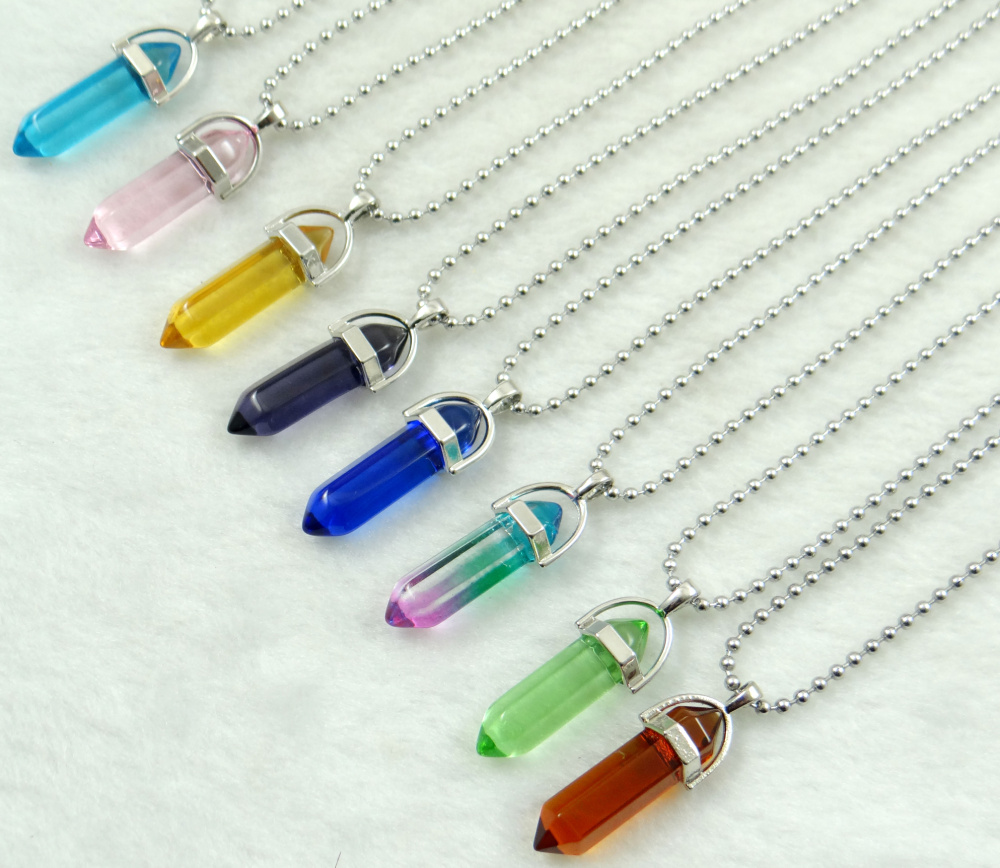Natural stone Titanium Crystal pillar Quartz Crystal lapis Cylinder pendants for diy Jewelry making necklace Accessories1pc