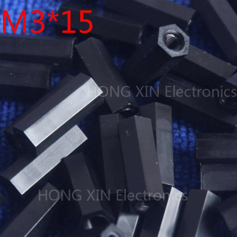 M3 * 15 15mm 1 pcs hitam nylon Hitam Nylon Hex Kebuntuan Spacer Perempuan Threaded Hexagonal Spacer kebuntuan Spacer merek baru