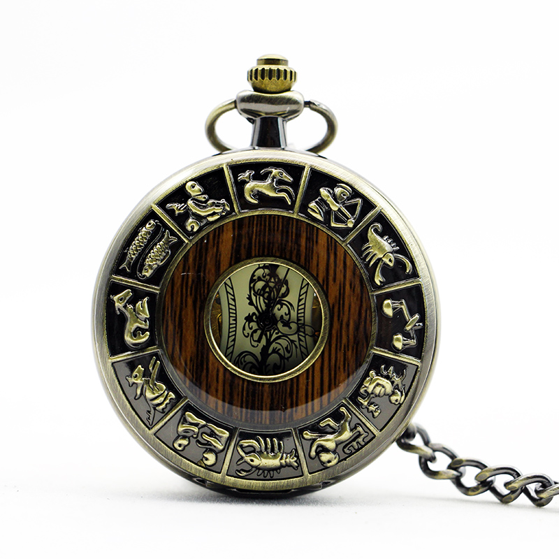 1107 Retro Bronze 12 Zodiac Hollow Mechanical Pocket Watch With Wood Men's Watch Gift zodiac bookmarks zodiac glass napkin 12 piece pack