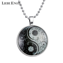 Antique Tai Chi Necklace Glass Cabochon Statement Silver Long Bead Chain Pendant Necklace Glow In Dark Accessories Fine Jewelry