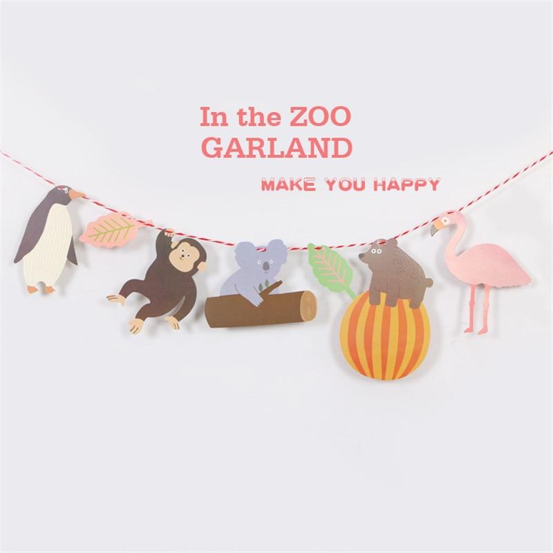 Cartoon Hat Zoo Safari Jungle Animal Birthday Banner Forest Safari Bunting Garland Baby Shower Kids Birthday Party Decor