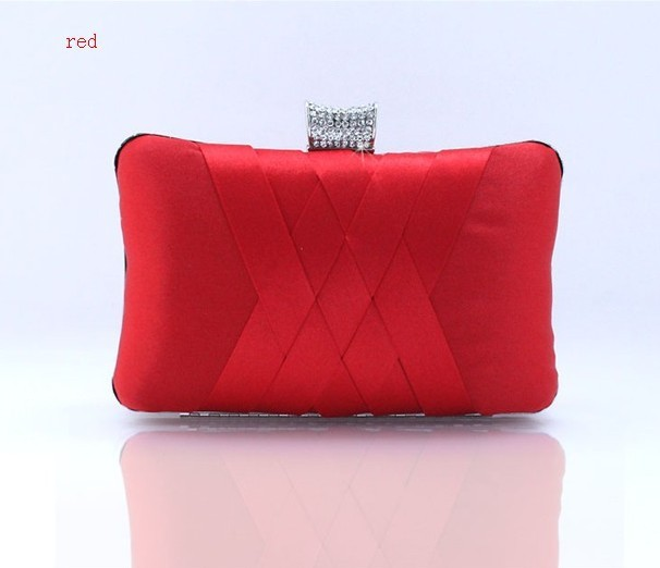 Red Chinese Womens Satin Rhinestone Handbag Clutch Evening Bag Party Bridal Purse Makeup Bag Free Shipping 7395-A