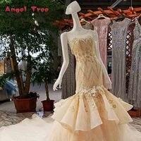 Thiên thần Cây Custom Made Mermaid Không Tay O-Cổ Ren Tinh Thể Beading Flowers Tòa Train Bridal Gowns Wedding Dresses