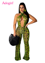 Adogirl Leopard Print Women Sexy Jumpsuit Crisscross Lace Up Halter Backless Night Club Party Romper Female Fashion Outfits tropical print crisscross halter dress