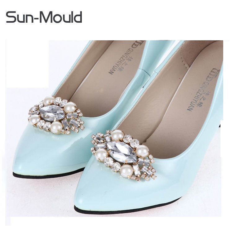 1pair new quality shoes flower charms bridal high-heel pumps with clips  crystal diamond shoe clips wedding decoration buckle