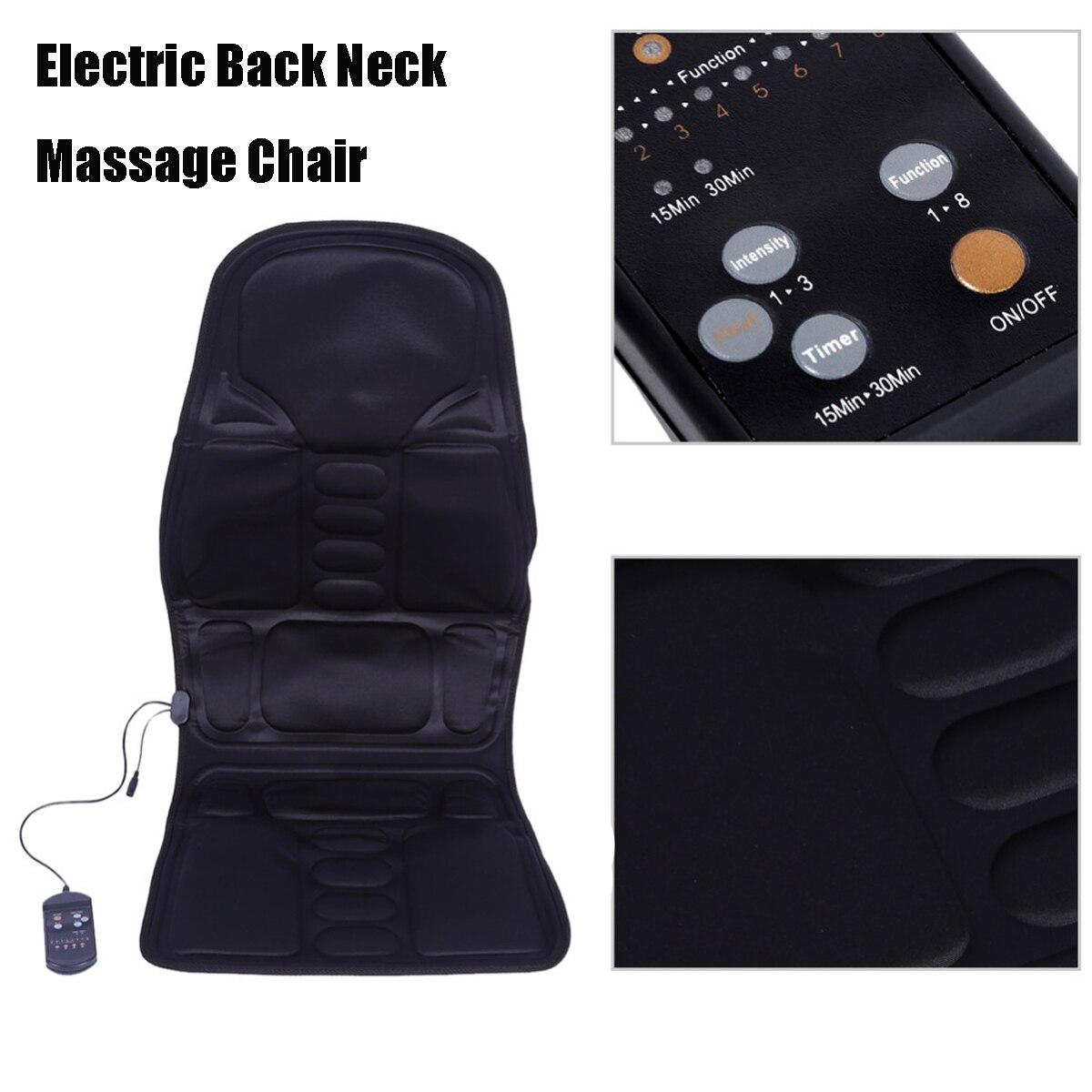 12 v 7.2 w Noir Polyester Tissu Coussin De Massage Électrique Massage Du Dos Du Cou Chaise Siège Relaxation Pour Voiture Home Office