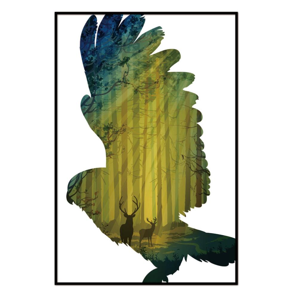 Scandinavian Eagle Forest Nordic Abstract Trees Natural canvas Wall ...