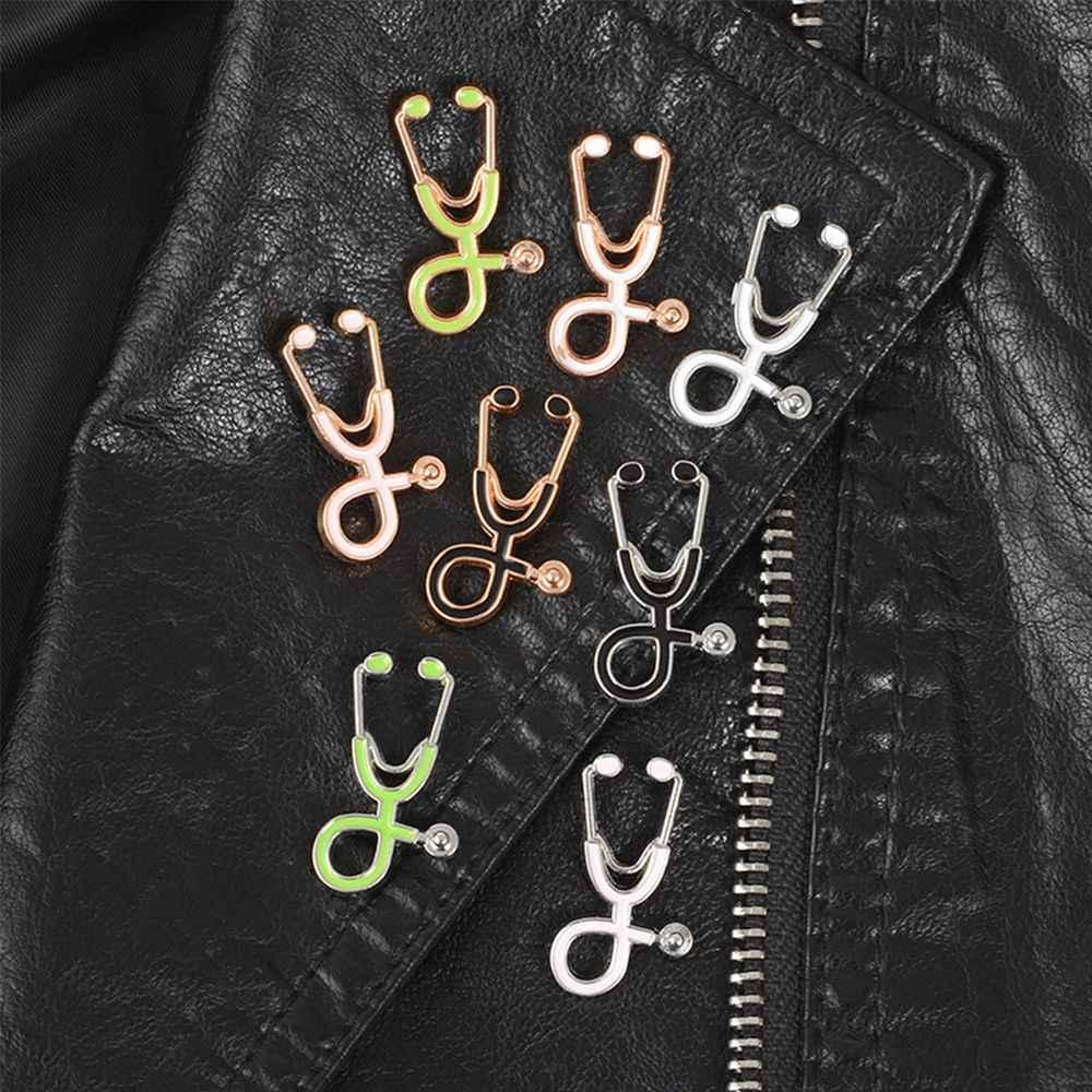 Criativo Colorido Broches Pinos Esmalte Médica Estetoscópio Médico Enfermeira Jaquetas Jeans Saco de Presentes Jóias Botão Emblemas