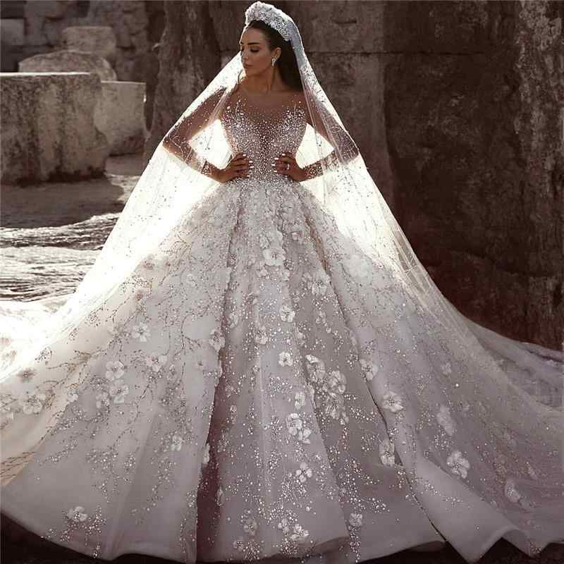 2019 Arab Luxury Lace Wedding Dress Long Sleeve Beading Flowers Ball Gown Wedding Dress Cathedral Royal Train Vestido De Noiva