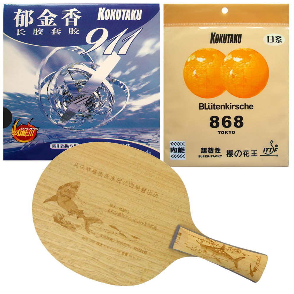 XNT X686 Shark Table Tennis Blade With Kokutaku Blutenkirsche 868 Super Tacky and 911 Rubbers Long shakehand FL pro combo racket palio energy 01 blade with 2x kokutaku blutenkirsche 868 tokyo rubbers