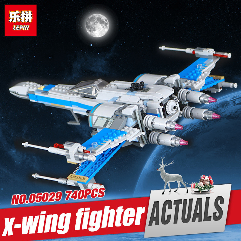 LEPIN 05029 740PCS NEW Star Set X-toy Wing Fighter Montessori Educational Building Blocks Brick Compatible Legoed Model 75149 mini qute kawaii wise hawk star war darth vader x wing starfighter r2d2 yoda building blocks brick model figures educational toy